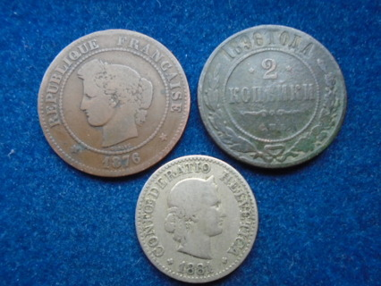 1876 1881 & 1896 OLD WORLD COINS...FULL BOLD DATES!