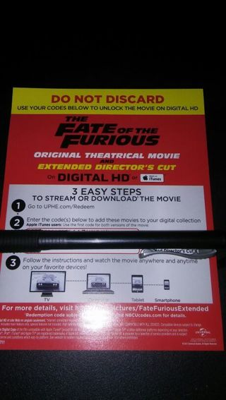 The Fate of the Furious digital movie code