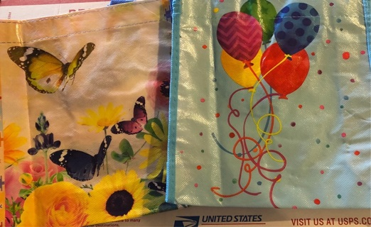 """BN Two Plastic Coated Colorful Gift Bags For Multiple Uses / Occasions. Never Used. 8.5"""" x 9"""" x 3"""""""