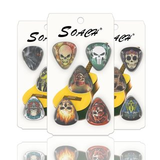 SOACH 10pcs guitar features skull thickness 1.00mm 0.71mm 0.46 celluloid and bag random guitar part