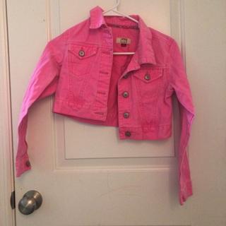 Hot pink crop jacket size large