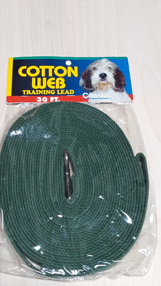 30 FT. Green Cotton Web Dog Training Lead