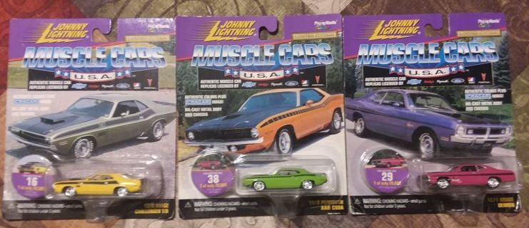 Lot of 3 Johnny Lightning Muscle Cars Mopar Dodge & Plymouth