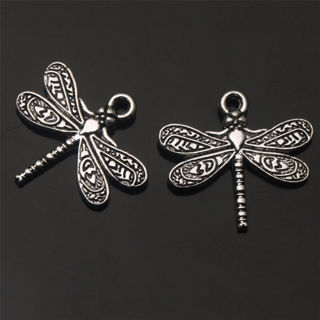 40PCs Dragonfly Art Tibetan Silver Charms Pendant Jewelry Finding