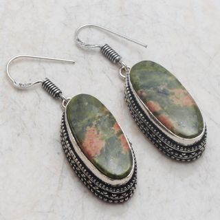 PRETTY RUSSIAN UNAKITE ANTIQUE STYLE GEMSTONE EARRINGS