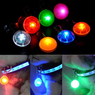 Dog Cat Puppy LED Flashing Collar Safety Night Light Keyring Pendant