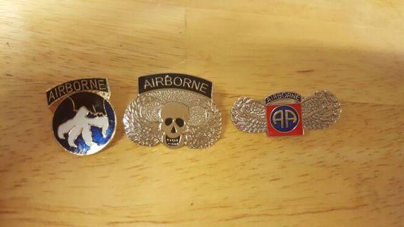 (3) AIRBORNE HAT PINS