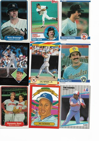 (9) Baseball Star Cards