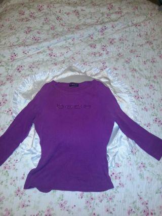 BEBE fuchsia/plum rhinestone tshirt