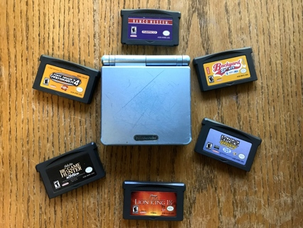 Nintendo Gameboy Advance SP Pearl Blue Plus 6 Games