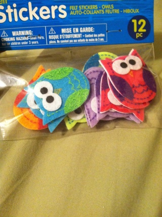 Pack of felt Owl Stickers 12pc