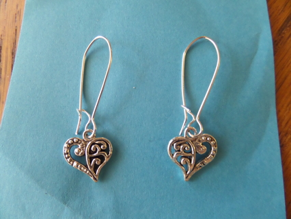 New! Romantic Tibetan silver sweet heart dangle earrings