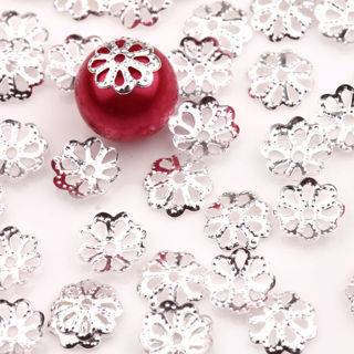100PCS Silver Plated Flower Metal Bead Caps 7x2mm Jewelry Findings