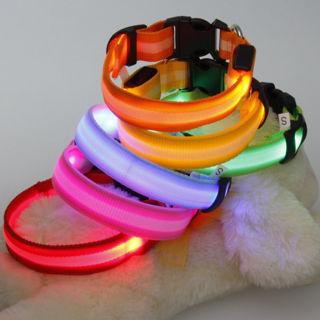 LED Light Flashing Luminous Glow Pet Dog Night Safety Adjustable Nylon Collar