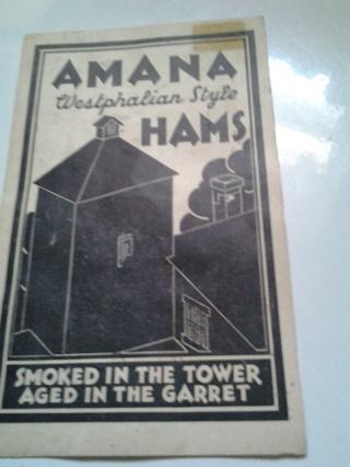 Amana Hams Brochure, Amana, Iowa, Amana Society