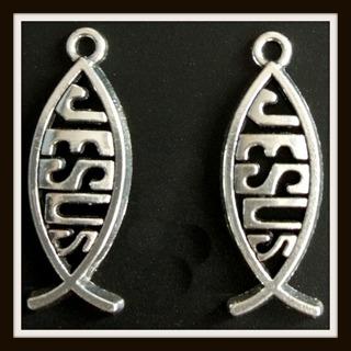 2pc Set! JESUS Ichthys FISH Findings Tibetan Silver Charms Pendants, 25mm x 10mm, Brand NEW!