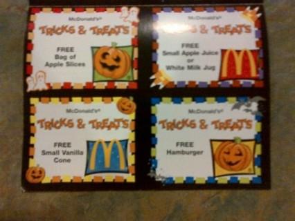 Halloween McDonald Trick or Treat Free Food Coupons X 4 (or 12 GIN Bonus!)