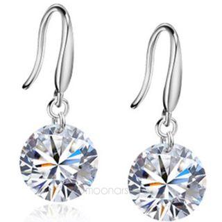 Women's 925 Sterling Ear Hook Swarovski Crystal Hoop Fashion Earrings Jewellery
