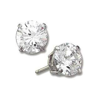 CZ Crystal Stud Earrings Sterling Silver