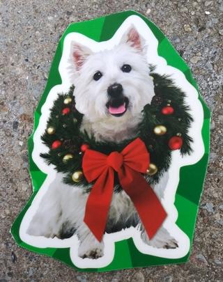 CHRISTMAS DOG WINDOW CLINGS