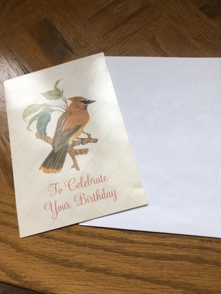 Brand new cedar waxwing birthday card