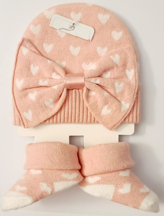 BABY GIRL NEW BORN/3 MONTHS BEANIE & MATCHING BOOTIES BNWT L@@K!