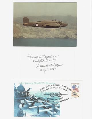 """WW II Lt. Col. Frank Kappeler """"Doolittle Raider"""" Signed 3X5 Index Card Lot"""
