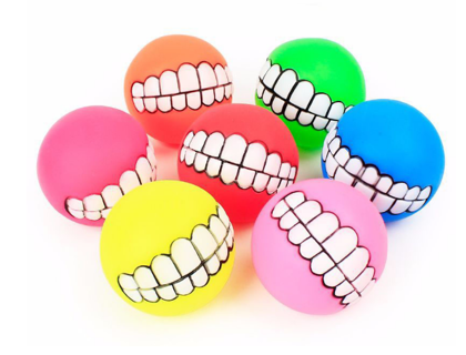 Puppy Cat Ball Teeth Toy PVC Chew Sound Dogs Play Fetching Squeak Toys Pet Supplies329686683670