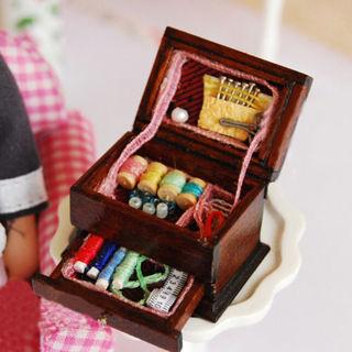 Vintage Sewing Needlework Needle Kit Box 1:12 Dollhouse Miniature Mini Decor