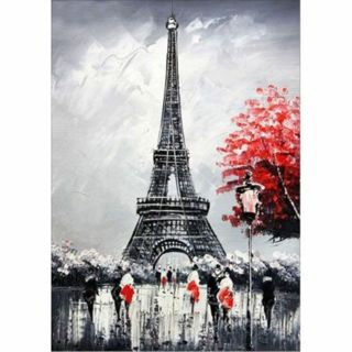 5D Paris Red Flowers Resin Diamond Painting Cross Stitch Mosaic Embroidery Craft