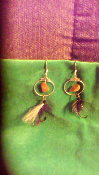 fish hook tigers eye earrings