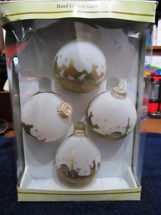 Set of 4 Gold & Frosted Glass Ornaments