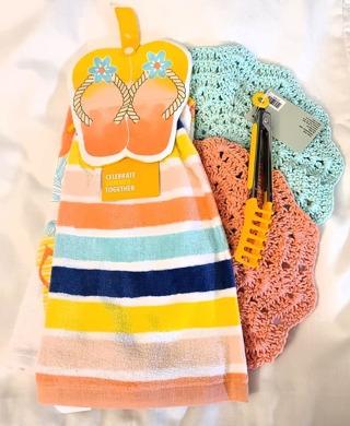 "Crochet 2 - 9"" Dish Cloth/Wash Cloths 1 HANGING TOWEL 1 T-TOWEL 1 PAIR OF TONGS"