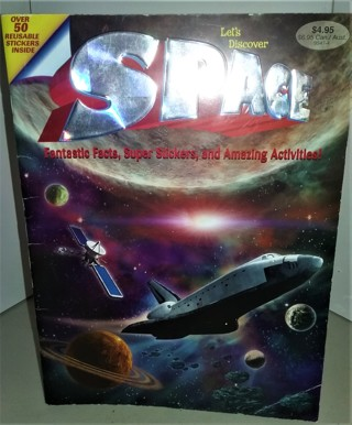 "2005 SPACE activity book with over 50 space stickers - softcover - 48 pages - 8"" x 10 3/4"""