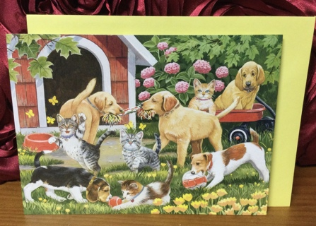 Dogs and Cats Playing in Yard Birthday Card