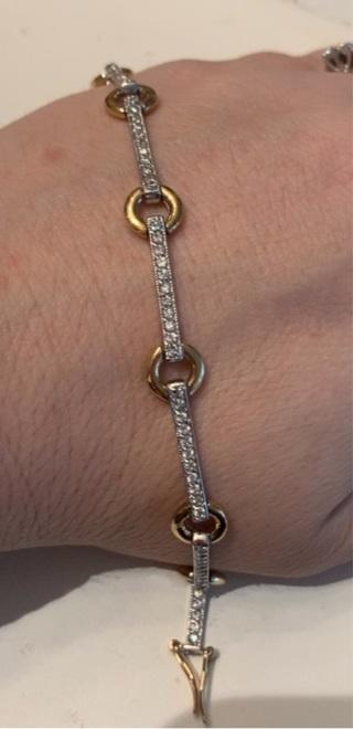 925 Diamond Tennis Bracelet! 2 Tone, Missing Clasp, Read Description
