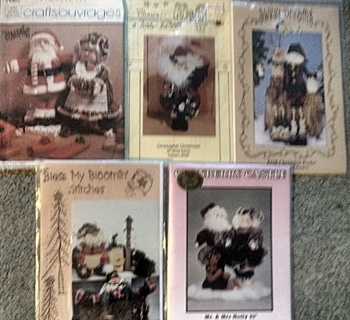 Lot of 5 Santa and Friends Sewing Patterns -- New/Uncut.