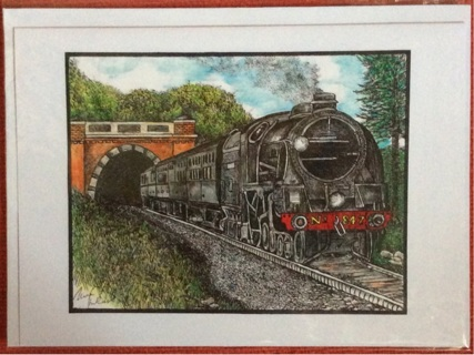 """STEAM ENGINE EMERGING FROM TUNNEL - 5 x 7"""" art card by artist Nina Struthers - GIN ONLY"""