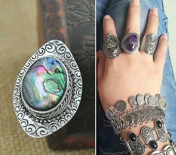 Charm Gypsy Fashion Statement Tibet Silver Abalone Shello Ring
