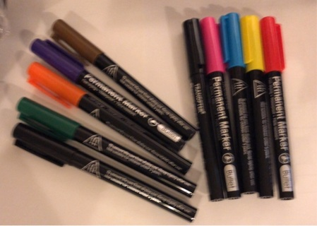 """Brand New: Ten """"Tranopter"""" Permanent Markers. One Each Of Ten Vibrant Colors With Bullet Points"""