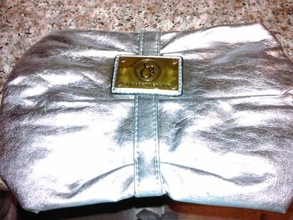 NEW Elizabeth Grant silver metallic clutch purse!