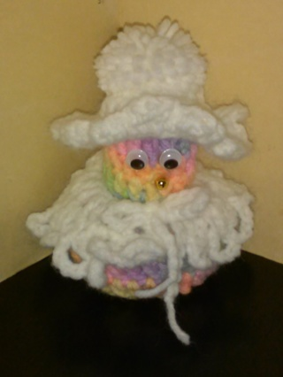 Crochet Snow Lady (B-1285) Multi-Pastel with White cape and hat