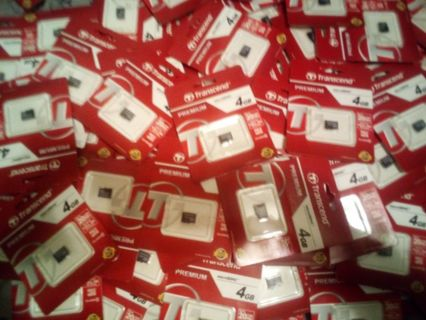 4 QTY. Transcend Premium 4GB micro SDHC Class 10 card lot