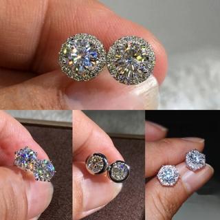 Dainty Square Round Pentagram Crystal Earrings 925 Silver