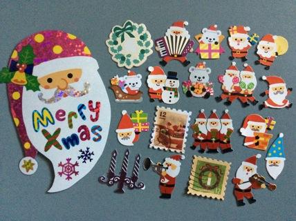 ☆ 20 Kawaii Christmas Regular & Large Sticker Flakes ☆ Bonus for the Winner ☆