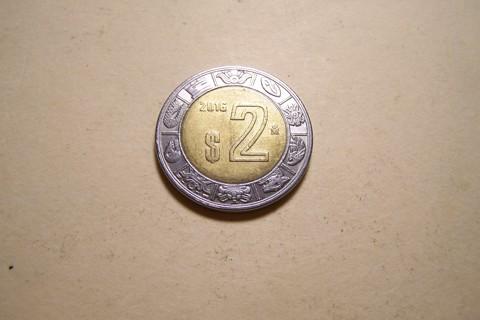 2016 2-Peso Coin, Mexico - Spendable Mexican Money