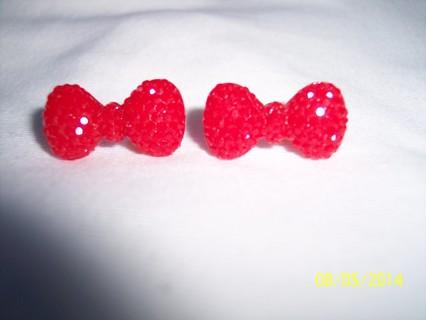 post earrings: red bow tie
