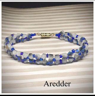 *◇ Beautiful Blue and Opal Like Crystal Flower Beaded bracelet NEW ◇*