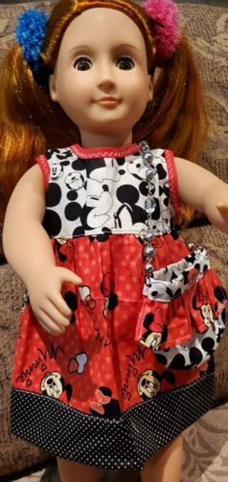 MICKEY MINNIE DRESS FOR 18 IN DOLL
