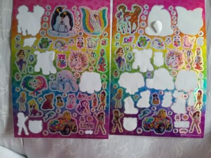 Lisa Frank Glitter stickers 2 incomplete sheets. Over 100 stickers